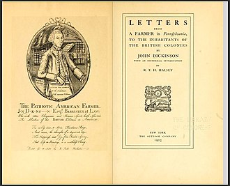 Letters from a Farmer in Pennsylvania - Title page of John Dickinson's  Letters from a farmer in Pennsylvania, to the inhabitants of the British Colonies