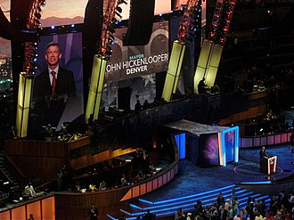 John Hickenlooper - Hickenlooper speaks on the first day of the 2008 Democratic National Convention in Denver.