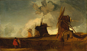 The Fens -  Drainage Mills in the Fens, Croyland, Lincolnshire. John Sell Cotman