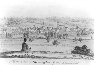 Farmington, Connecticut - Northwest View of Farmington from Round Hill, by John Warner Barber, 1836