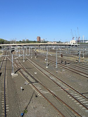 Jolimont Yard - View east over the remaining lines from Federation Square