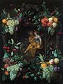 Joris van Son - A stone cartouche with a garland of fruit with Bacchus and Ceres, Allegory of autumn.jpg