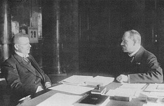 J. K. Paasikivi and P. E. Svinhufvud, both at the time future presidents of the Republic of Finland, discuss the Finnish monarchy project in 1918. Juho kusti paasikivi and Pehr Evind Svinhufvud 1918.jpg