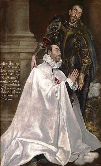 Julián Romero - Julián Romero and his patron saint. Painting by El Greco.