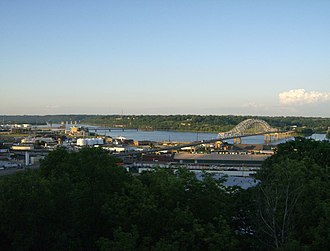 U.S. Route 20 in Iowa - U.S. Highway 20 crosses the Mississippi River at Dubuque using the Julien Dubuque Bridge.