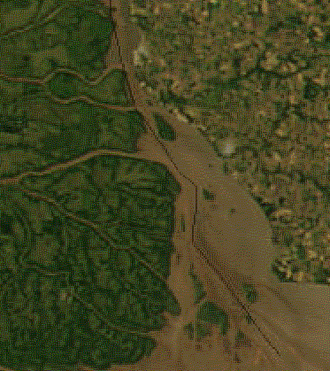 Juncal Island - Satellite picture of the upper Río de la Plata; Juncal Island is the large island above center