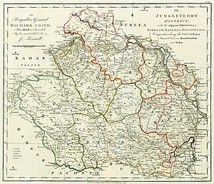 History of Bankura district - 1779 map of the Jungle Terry District.