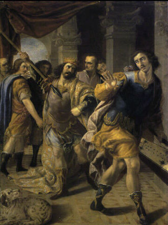 David - Saul threatening David, by José Leonardo