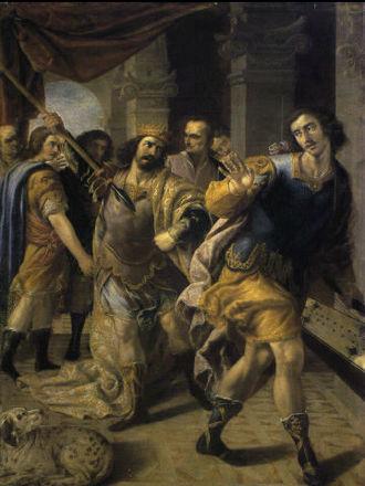 David - Saul threatening David, by José Leonardo