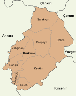 Kırıkkale location districts.png