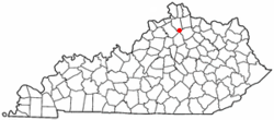 Location of Corinth, Kentucky