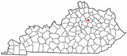 Location of Paris, Kentucky