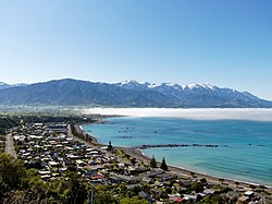 Town of Kaikōura as seen from the peninsula