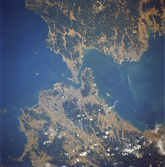Kanmon Straits - Kanmon Straits viewed from space, with Honshu at the top and Kyushu at the bottom