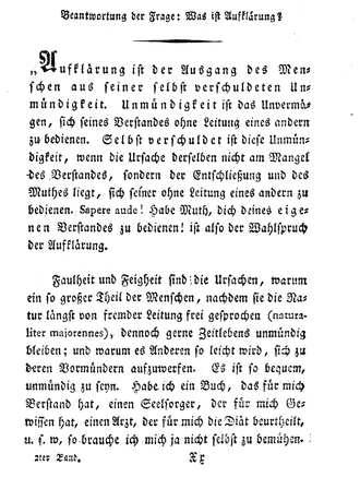 Answering the Question: What is Enlightenment? - The first page of the 1799 edition.