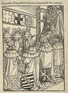 Krönung in Aachen (Holzschnitt, 1520) (Quelle: Wikimedia)