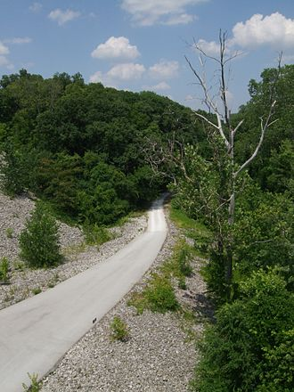 Katy Trail State Park - The Katy Trail as seen from the Highway 364 overpass in Saint Charles