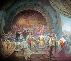 Ottokar II of Bohemia - In the painting,Přemysl Otakar II: The Union of Slavic Dynasties, part of Alfons Mucha's 20-canvas work The Slav Epic, Ottokar is depicted at his niece's wedding celebration, forging alliances with other Slavic rulers in attendance.