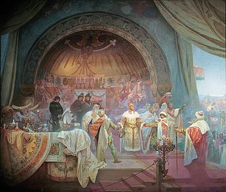Ottokar II of Bohemia - In the painting, Přemysl Otakar II: The Union of Slavic Dynasties, part of Alfons Mucha's 20-canvas work The Slav Epic, Ottokar is depicted at his niece's wedding celebration, forging alliances with other Slavic rulers in attendance.