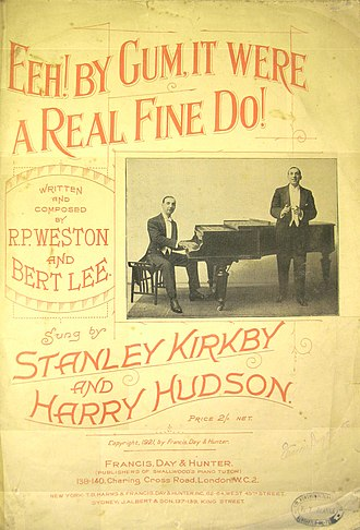 """Stanley Kirkby - Sheet music for """"Eeh! By Gum ..."""" c. 1921. Kirkby (standing) and Hudson."""