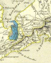 Cartografie veche care descrie în albastru colonizarea districtului Santo-Thomas din Guatemala de către Comunitatea Uniunii, fondată de Compania de colonizare belgiană.