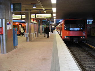 Helsinki Metro - One of the M100 series prototypes, number 106 (right) at Kontula station.