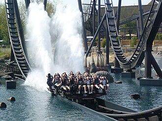 "Dive Coaster - Krake going through a ""splashdown"" at Heide Park in Germany"