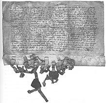 Lettera con sigilli del 15 febbraio 1362 da Magnusson di Håkan, re di Svezia, ai contadini di Österland