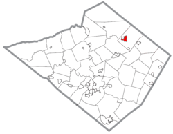 Location of Kutztown in Berks County, Pennsylvania.