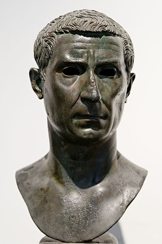 Calpurnia (gens) - Bust of Lucius Calpurnius Piso, consul in 15 BC.  Found at the Villa of the Papyri in Herculaneum, and now at the National Archaeological Museum in Naples.