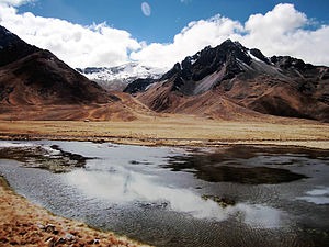 Chimboya - Chimboya, the snow-covered mountain in the background, as seen from a small lake near the La Raya pass