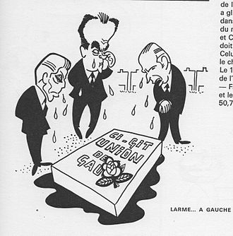 Programme commun - Robert Fabre, Georges Marchais and François Mitterrand at the tomb of the Union of the Left, cartoon drawn by Maurice Tournade in 1980.