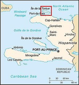 Map of Haiti showing the Tortuga Island