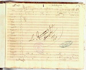 La romanziera e l'uomo nero - Autograph title, 1831
