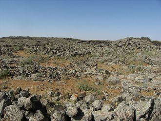 Lajat - The landscape of the Lajat (pictured here in 2009) is largely made up of gray, volcanic rock with patches of arable land.