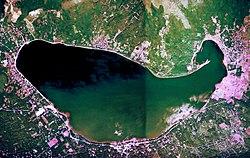 A satellite image of Lake Yamanakako