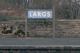 Largs railway station - BR style enamel sign in 1984