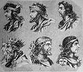 """Las Glorias Nacionales, 1852 """"Nº III. De Reyes de España. 1. Agila 2. Atanagildo 3. Liuva 4. Leuvigildo y Ermenegildo el Santo 5. Recaredo I 6. Liuva II"""". (4013186021).jpg"""