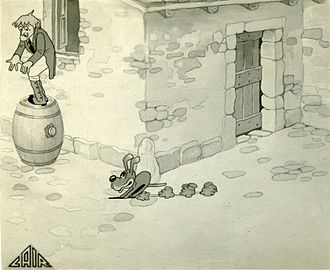 The Adventures of Pinocchio (unfinished film) - Geppetto in a frame of the film.