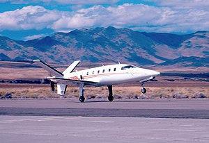 LearAvia Lear Fan - A Lear Fan prototype landing