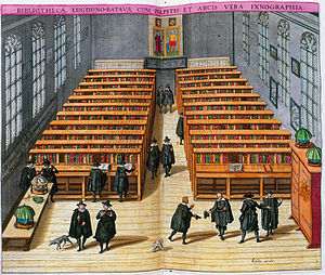 Leiden University Library - Library in 1610 (print by Woudanus)