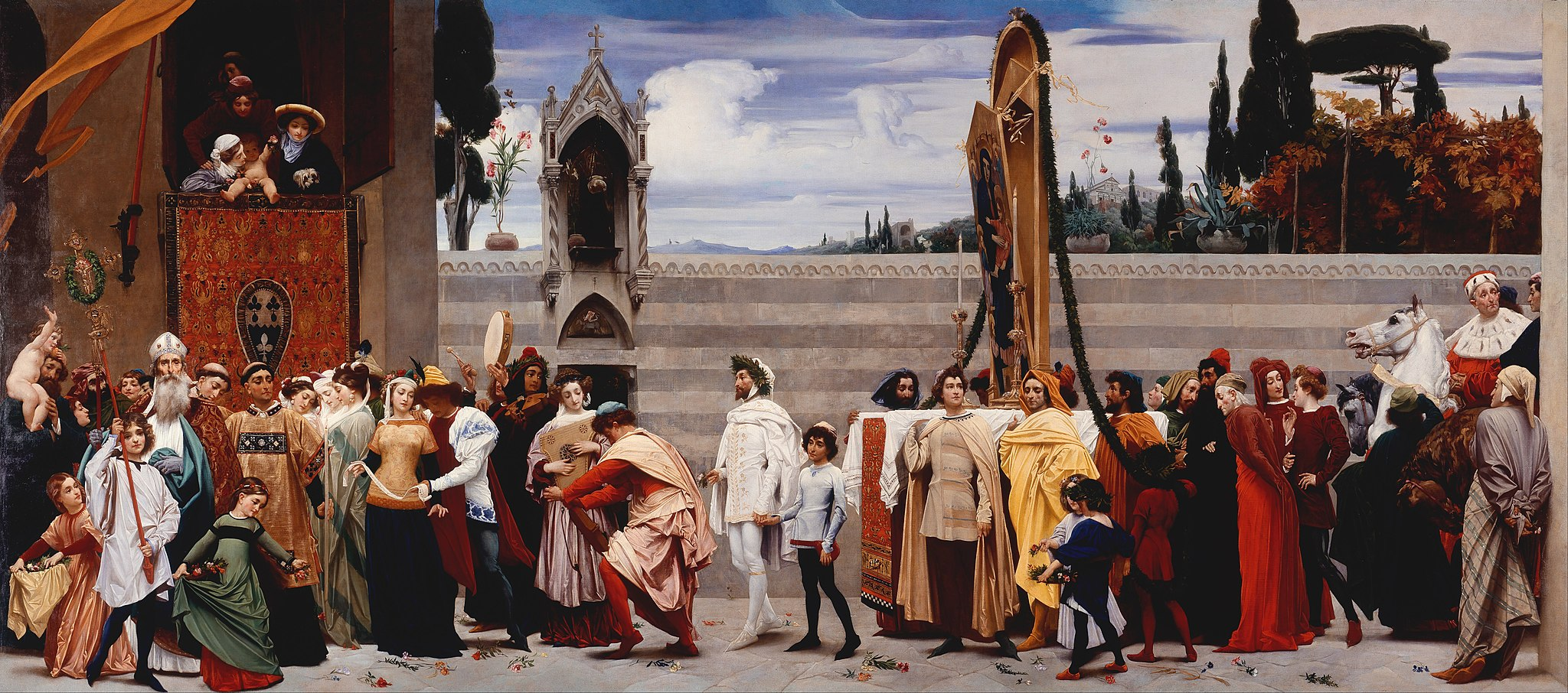 Frederick Leighton, Cimabues gevierde Madonna wordt in processie door de straten van Firenze gedragen, 1853-1855, Londen, National Gallery