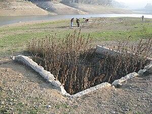 Lexington Reservoir - Exposed building foundation