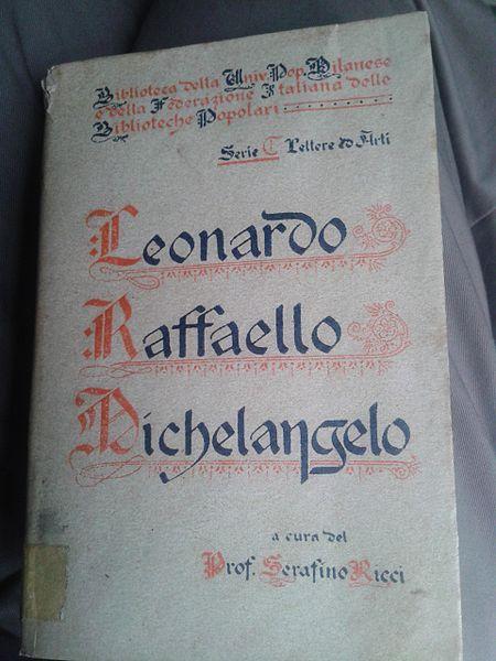 File:Libro Leonardo Raffaello Michelangelo Serafino Ricci italiano 01.jpg