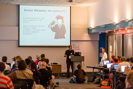 Lifes and deaths of Wikimedia projects in a mintority language Wikimania 2014 session-3.jpg