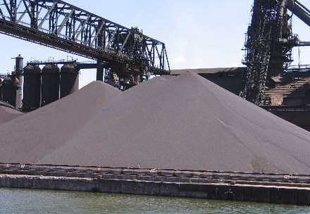 This heap of iron ore pellets will be used in steel production. LightningVolt Iron Ore Pellets.jpg