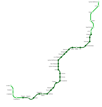 Line 1 (Athens Metro) - Line 1 map, including future extensions and stations. The northern extension of the line from Kifissia was canceled in 2011.