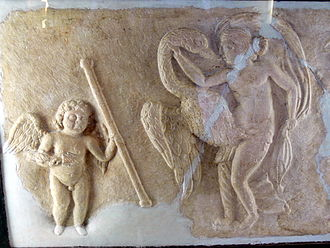 Leda and the swan, with a Cupid in attendance (4th-century Roman relief) Linz Schlossmuseum - Leda.jpg