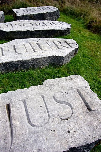 Scottish art - Part of the combination of sculpture and landscape used at Ian Hamilton Finlay's Little Sparta