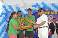 Local Ashore team receiving a trophy from Vice Admiral Satish Soni during the Eastern Naval Command Olympiad 2015.JPG